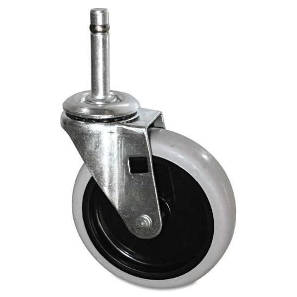 "Rubbermaid Commercial Replacement Swivel Bayonet Casters, 4"" Wheel, Thermoplastic Rubber, Black"