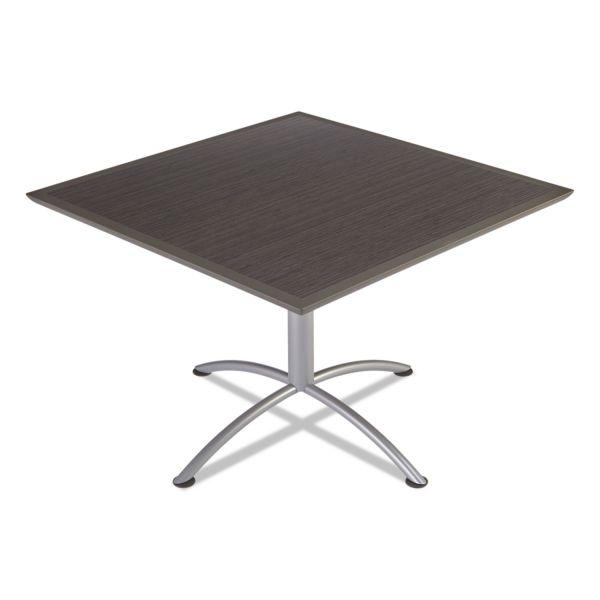 Iceberg iLand Table, Dura Edge, Square Bistro Style, 42w x 42d x 42h, Gray Walnut/Silver