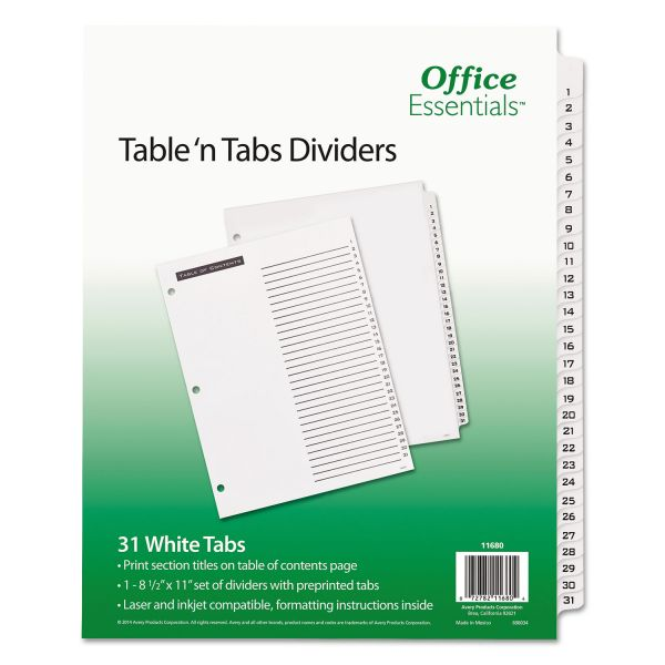 Office Essentials Table 'n Tabs Dividers, 31-Tab, Letter