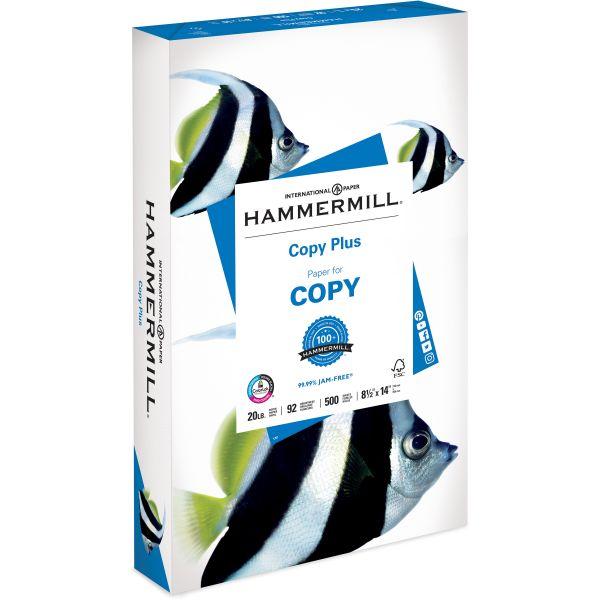 Hammermill Copy Plus Copy Paper, 92 Brightness, 20 lb, 8 1/2 x 14, White, 500 Sheets/Ream