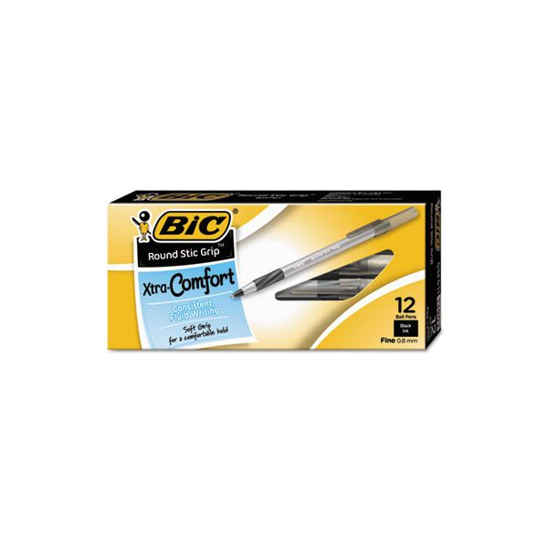 BIC Round Stic Grip Xtra Comfort Ballpoint Pen, Black Ink, .8mm, Fine, Dozen