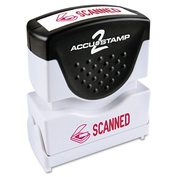 ACCUSTAMP2 Pre-Inked Shutter Stamp with Microban, Red, SCANNED, 1 5/8 x 1/2