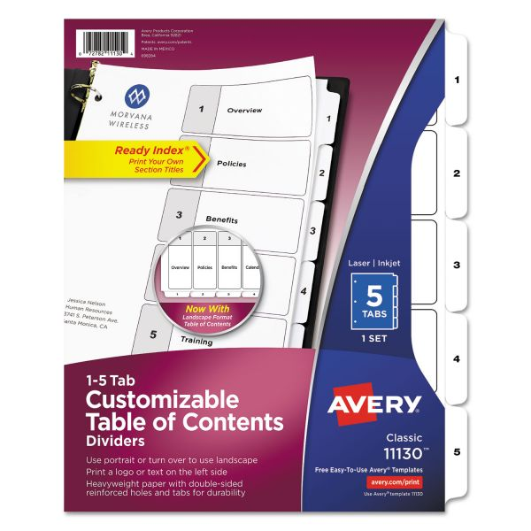 Avery Classic Ready Index 5-Tab Numbered Dividers With Table Of Contents Page