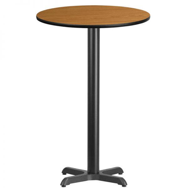 Flash Furniture 24'' Round Natural Laminate Table Top with 22'' x 22'' Bar Height Table Base