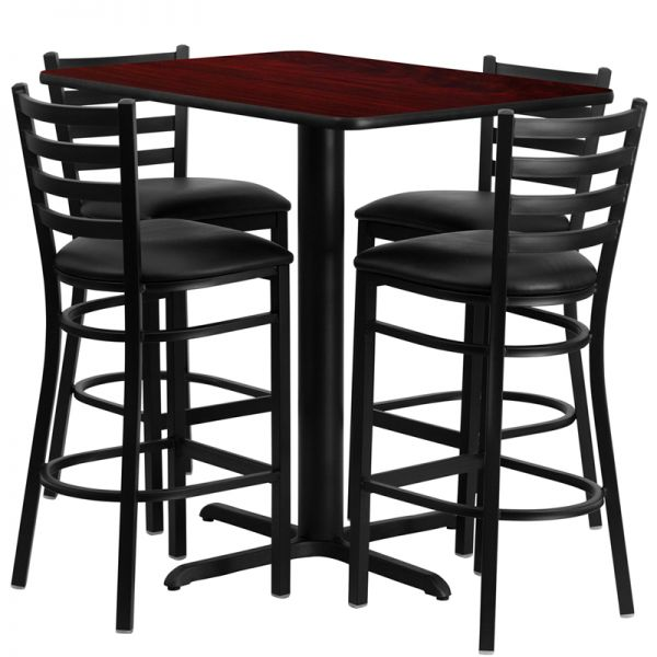 Flash Furniture 24''W x 42''L Rectangular Mahogany Laminate Table Set with 4 Ladder Back Metal Barstools - Black Vinyl Seat