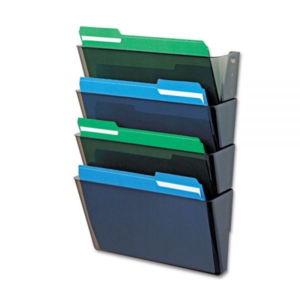 deflecto DocuPocket Four-Pocket Wall Set, Plastic, Letter, 13 x 4 x 7, Smoke