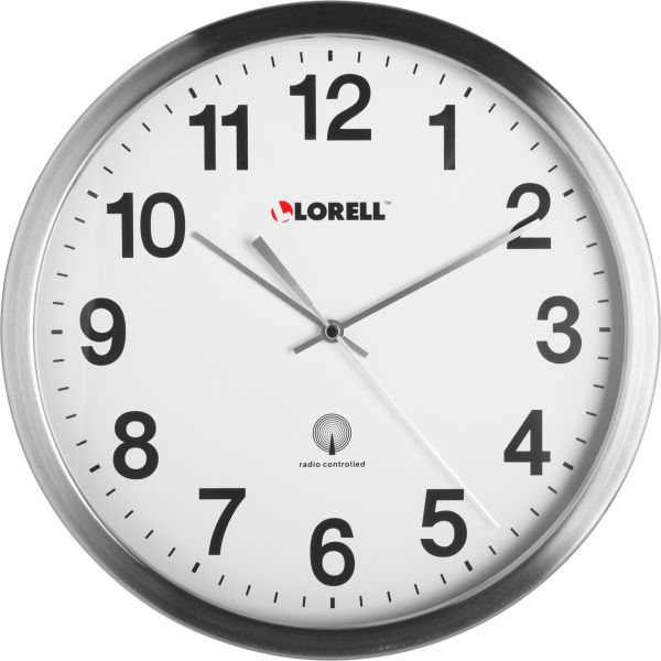 Lorell Brushed Metal Atomic Control Wall Clock