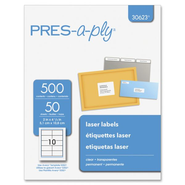 Avery Pres-A-Ply Clear Shipping Labels