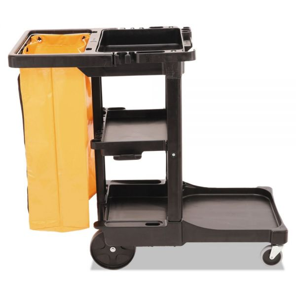 Rubbermaid Commercial Multi-Shelf Cleaning Cart, Three-Shelf, 20w x 45d x 38-1/4h, Black