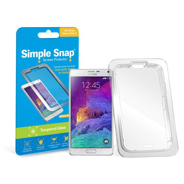 ReVamp Simple Snap Screen Protector (Samsung Galaxy Note 4) (Tempered Glass) Transparent