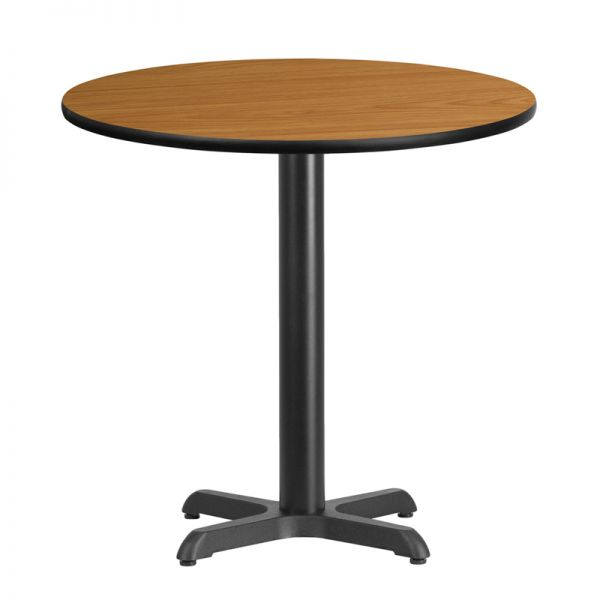 Flash Furniture 30'' Round Natural Laminate Table Top with 22'' x 22'' Table Height Base