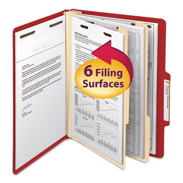 Smead Red 2-Divider Classification Folders