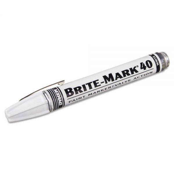 DYKEM BRITE-MARK 40 Paint Marker, Bullet Tip, White
