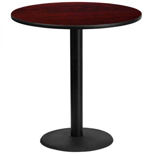 Flash Furniture 42'' Round Mahogany Laminate Table Top with 24'' Round Bar Height Table Base