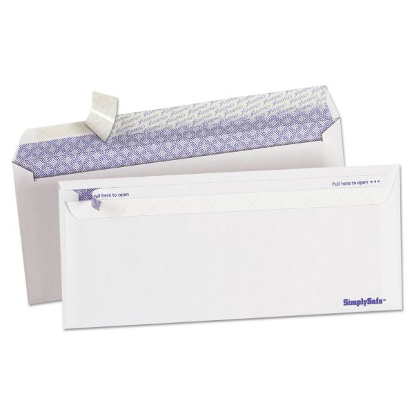 Ampad Gold Fibre Simply Safe Release & Seal Envelope, #10, 4 1/8 x 9 1/2, White,500/BX