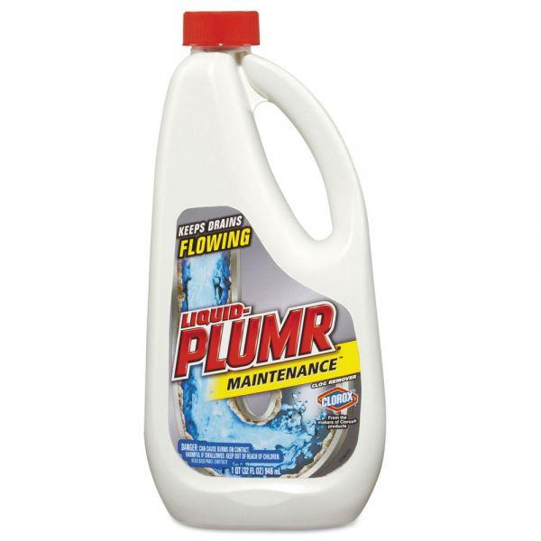 Liquid Plumr Clog Remover, Maintenance, 32 oz Bottle, 9/Carton