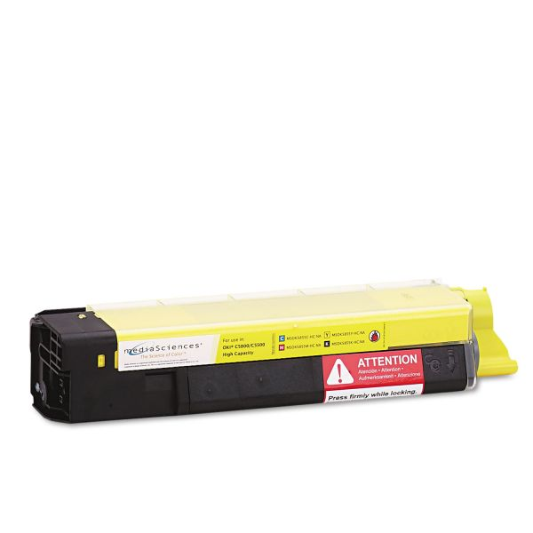 Media Sciences MSOK5855YHC Remanufactured 43324401 (Type C8) High-Yield Toner, Yellow