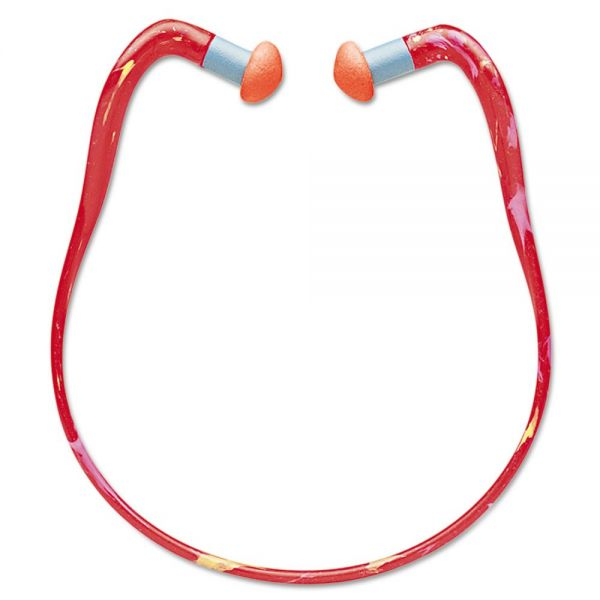 Howard Leight by Honeywell QB3HYG Banded Multi-Use Earplugs, 23NRR, Red Band/Orange Plug
