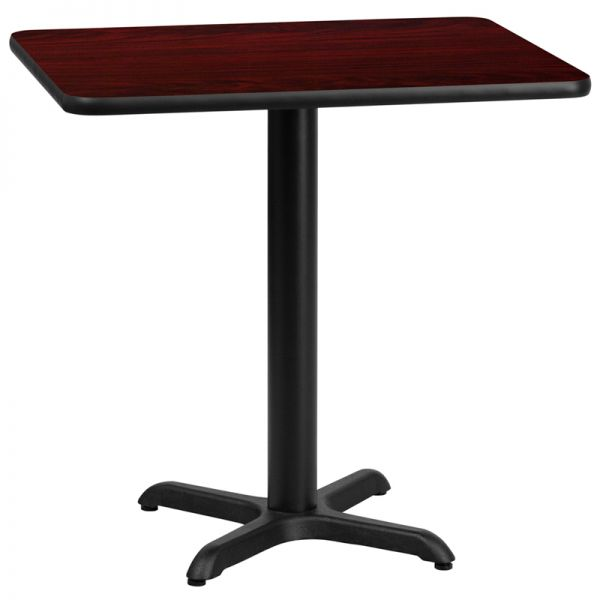 Flash Furniture 24'' x 30'' Rectangular Mahogany Laminate Table Top with 22'' x 22'' Table Height Base
