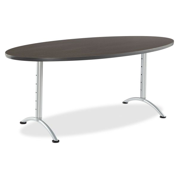 Iceberg ARC Sit-to-Stand Tables, Oval Top, 36w x 72d x 30-42h, Gray Walnut/Silver