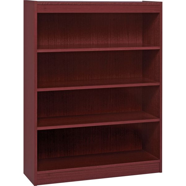 Lorell Panel End 4-Shelf Hardwood Veneer Bookcase