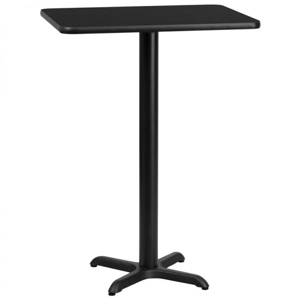 Flash Furniture 24'' x 30'' Rectangular Black Laminate Table Top with 22'' x 22'' Bar Height Table Base