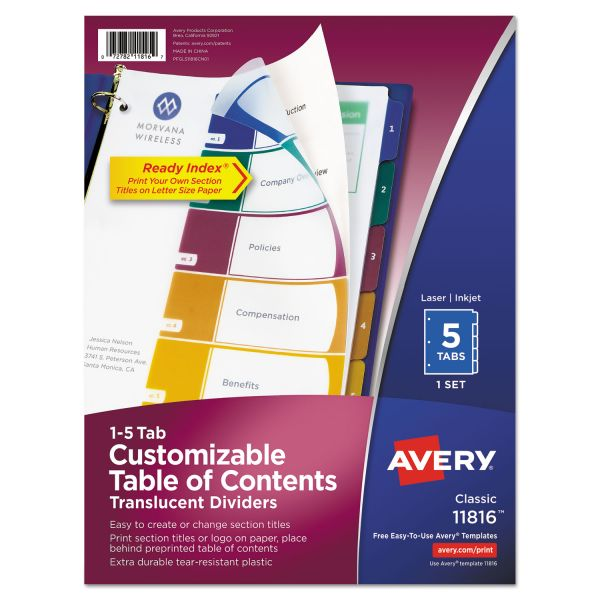 Avery Ready Index Translucent 5-Tab Numbered Dividers With Table Of Contents Page