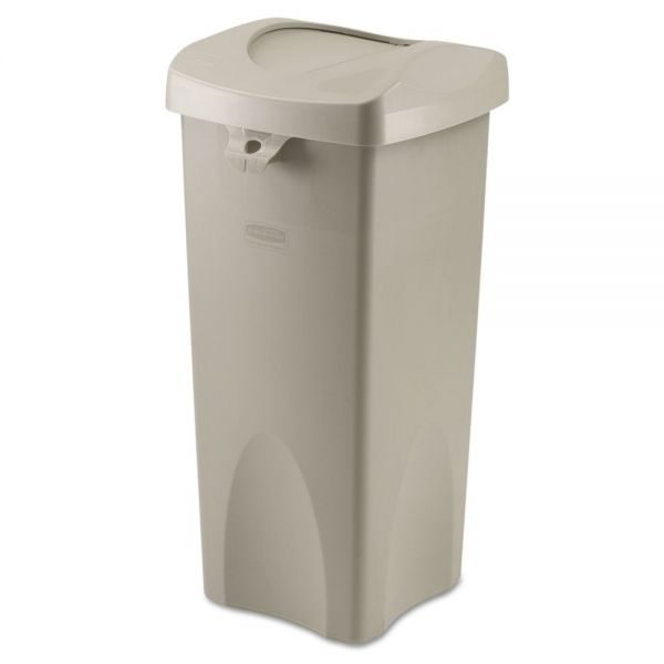 Rubbermaid Commercial Untouchable Square 23 Gallon Trash Can with Swing Lid