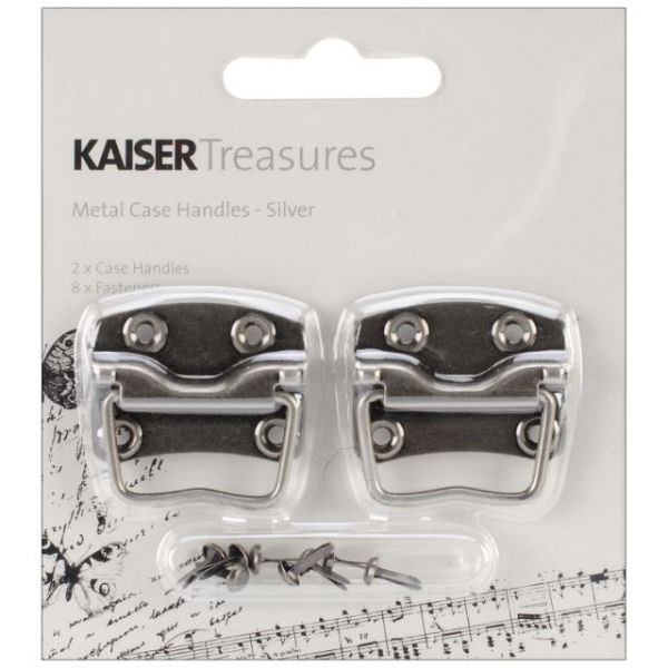 "Treasures Metal Case Handle W/1.25""X.875"" Backplate 2/Pkg"