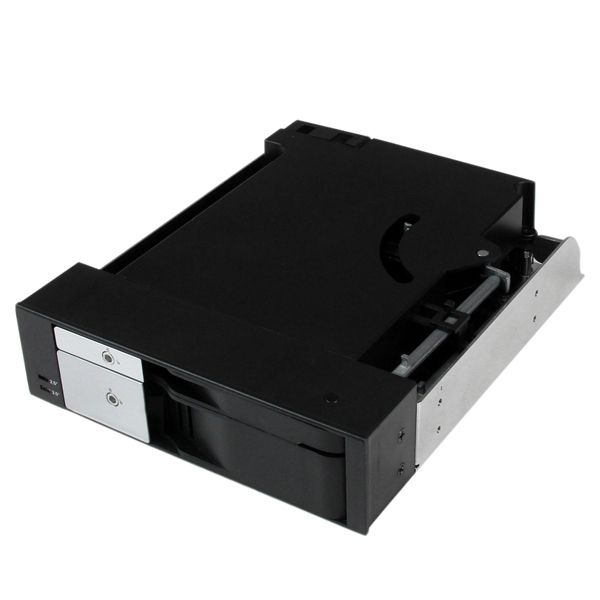 "StarTech.com Dual Bay 5.25"" Trayless Hot Swap Mobile Rack Backplane for 2.5"" and 3.5"" SATA/SAS HDD or SSD with Fan"