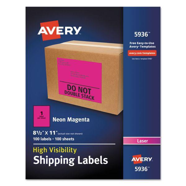 Avery Neon Shipping Label, Laser, 8 1/2 x 11, Neon Magenta, 100/Box
