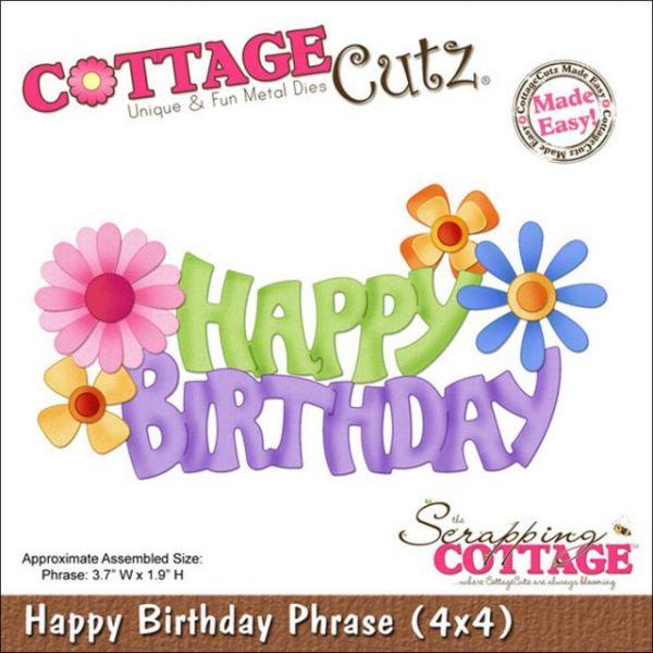 CottageCutz Happy Birthday Phrase Die