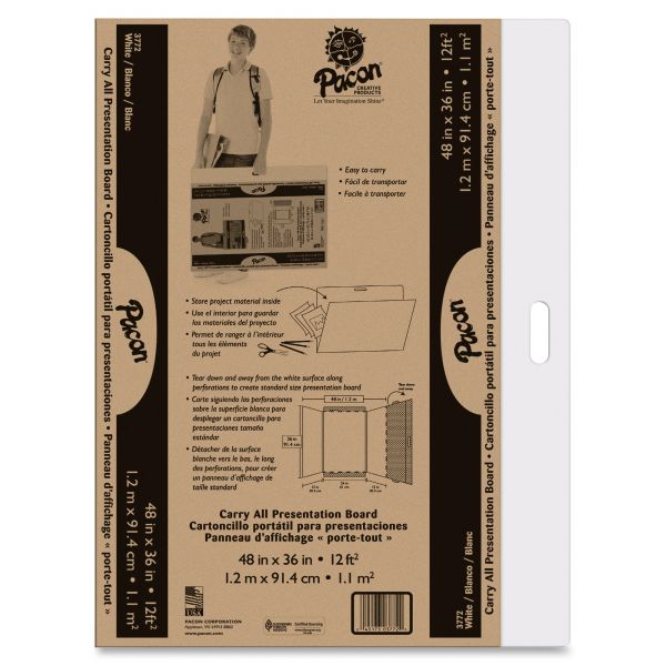 """Pacon Foldable Carry All Presentation Board, Opens to 48"""" x 36"""", Brown, 3/CT"""
