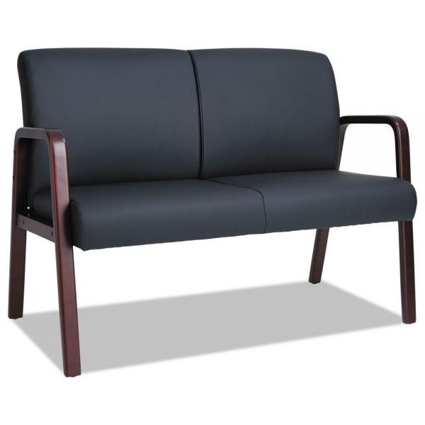 Alera Alera Reception Lounge Series Wood Loveseat, 44 7/8 x 26 1/8 x 33 Black/Mahogany