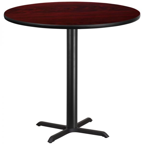 Flash Furniture 42'' Round Mahogany Laminate Table Top with 33'' x 33'' Bar Height Table Base