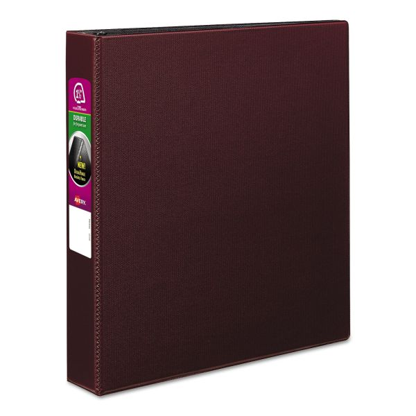 "Avery Durable 3-Ring Binder, 1 1/2"" Capacity, Slant Ring, Burgundy"