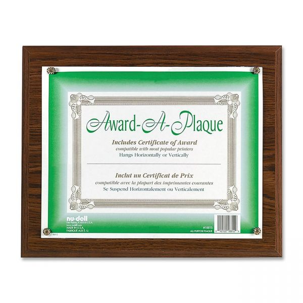 Nu-Dell Woodgrain Award-A-Plaque