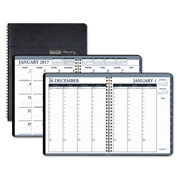 House of Doolittle Wirebound Weekly/Monthly Planner, 8-1/2 x 11, Black Leatherette