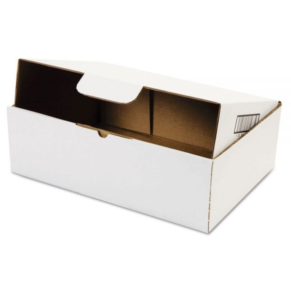 Duck Self-Locking Shipping Boxes, 13l x 9w x 4h, White, 25/Pack