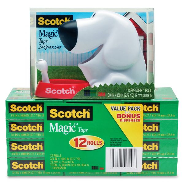 Scotch Magic Tape Dog Dispenser Value Pack