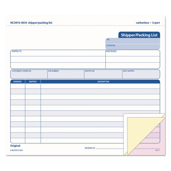 TOPS 3-Part Carbonless Shipper/Packing Forms