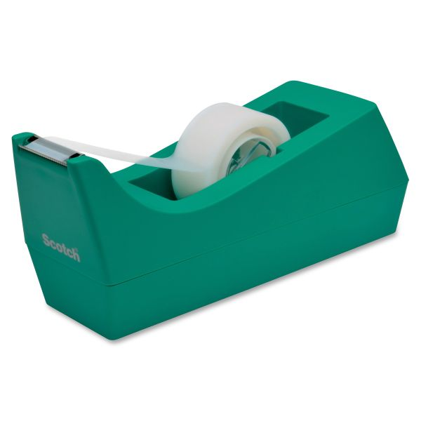 "Scotch Desktop Tape Dispenser, 1"" Core, Weighted Non-Skid Base, Emerald"