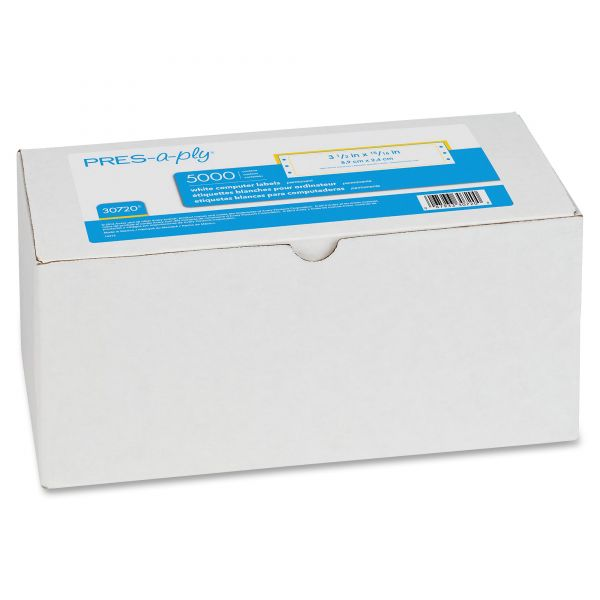 PRES-a-ply Dot Matrix Printer White Address Labels, 1 7/16 x 4, 1 Across, White, 5000/Box