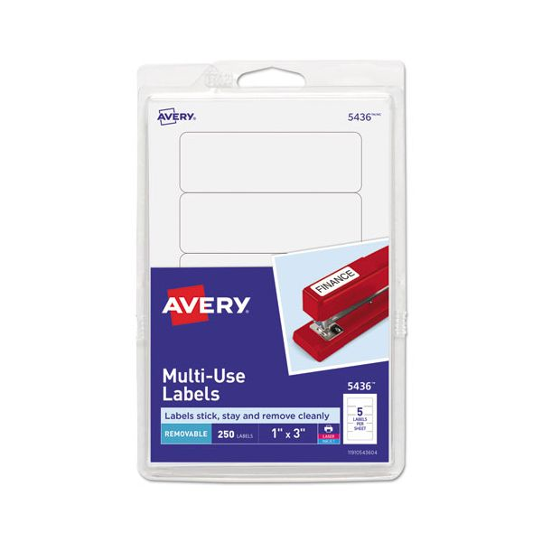 Avery Removable Multi-Use Labels, 1 x 3, White, 250/Pack