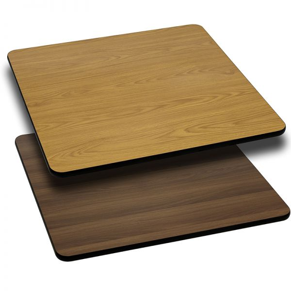 Flash Furniture 42'' Square Table Top with Natural or Walnut Reversible Laminate Top
