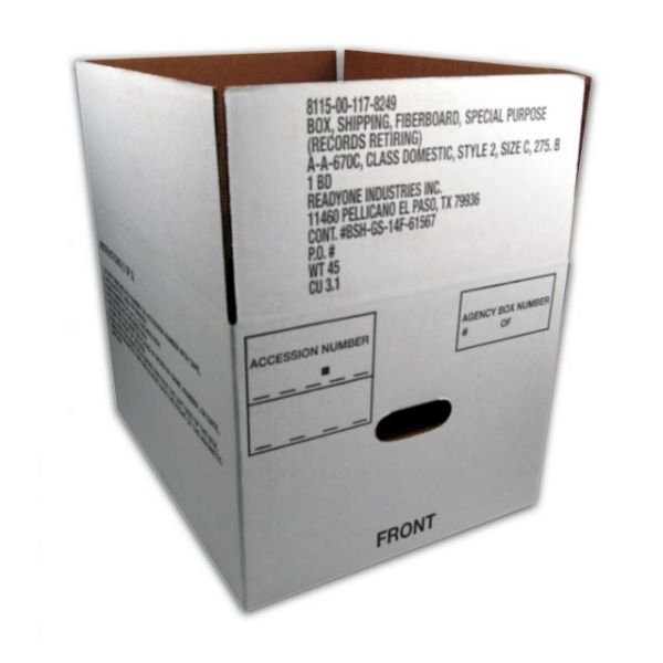 SKILCRAFT Lock Bottom Fiberboard Storage Boxes