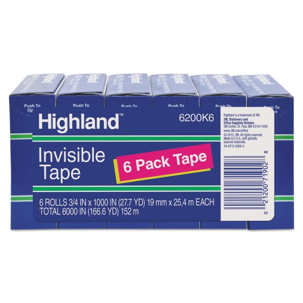 "Highland Invisible Permanent Mending Tape, 3/4"" x 1000"", 1"" Core, Clear, 6/Pack"