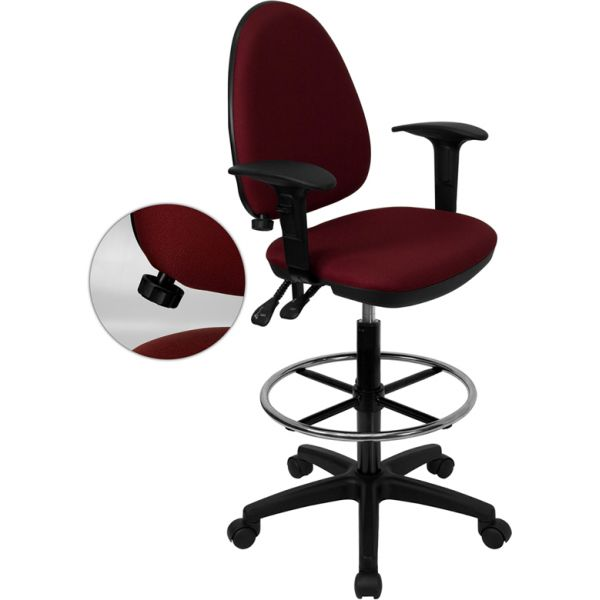 Flash Furniture Mid-Back Multi-Functional Drafting Chair with Adjustable Lumbar Support and Height Adjustable Arms