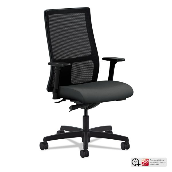 HON Ignition Series Mesh Mid-Back Work Chair, Iron Ore Fabric Upholstered Seat
