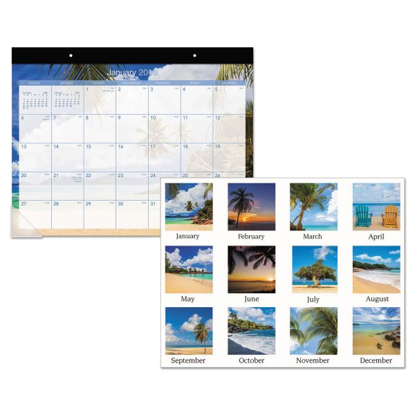 AT-A-GLANCE Tropical Escape Desk Pad, 22 x 17, 2019